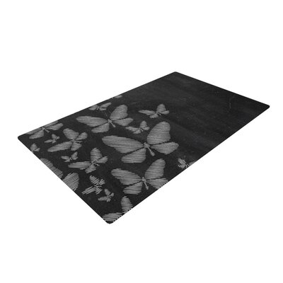 Snap Studio Butterflies IV Chalk White Area Rug Rug Size: 2 x 3