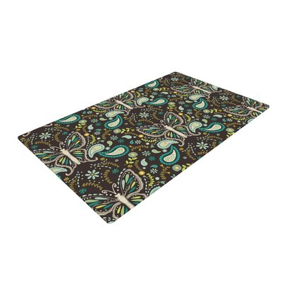 Suzie Tremel Butterfly Garden Brown/Teal Area Rug Rug Size: 4 x 6