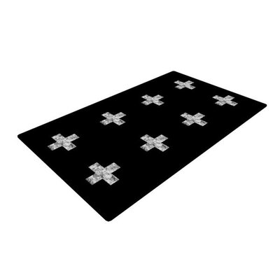 Skye Zambrana Swiss Cross Black Simple Dark Black Area Rug