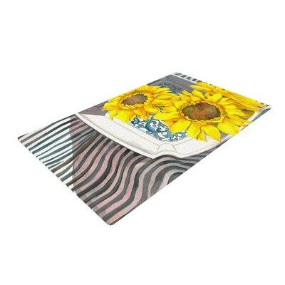 S. Seema Z Finall Sunflower Flower Yellow Area Rug