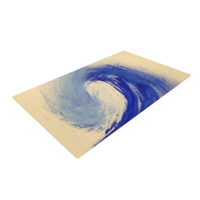 Infinite Spray Art Waveology Tan/Blue Area Rug Rug Size: 4 x 6