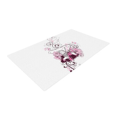 Tobe Fonseca Violinist White/Pink Area Rug Rug Size: 2 x 3