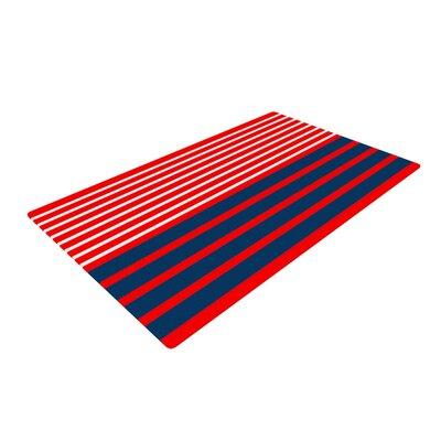 Trebam Nauticki Lines Navy/Red Area Rug Rug Size: 2 x 3