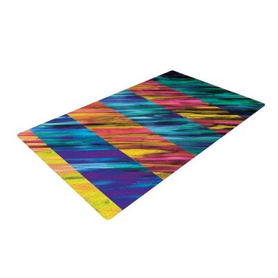 Theresa Giolzetti Stripes I Blue/Orange Area Rug