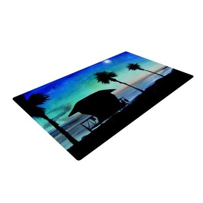 Theresa Giolzetti Carlsbad State Beach Black/Blue Area Rug