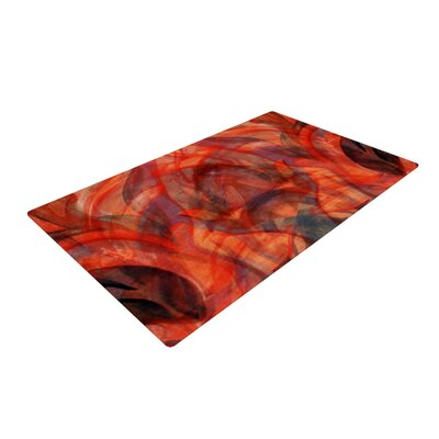 Theresa Giolzetti Seaweed Abstract Orange/Red Area Rug Rug Size: 2 x 3