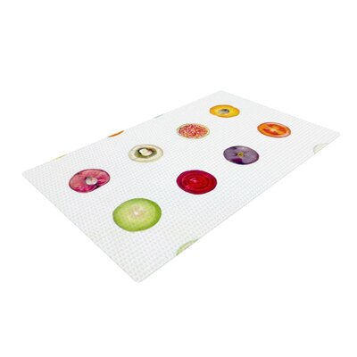 Theresa Giolzetti Fruit Food White/Red Area Rug Rug Size: 2 x 3