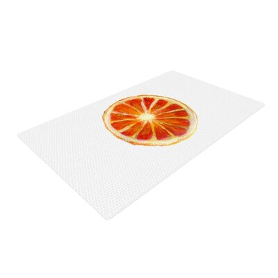 Theresa Giolzetti Grapefruit White/Orange Area Rug Rug Size: 2 x 3