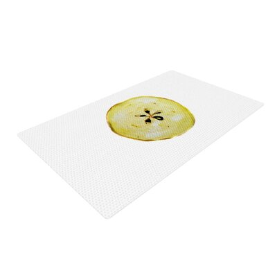 Theresa Giolzetti Apples Yellow/White Area Rug Rug Size: 2 x 3