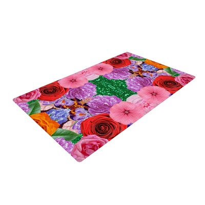 Vasare Nar Kaleidoscopic Flowers Pink/Red Area Rug Rug Size: 2 x 3