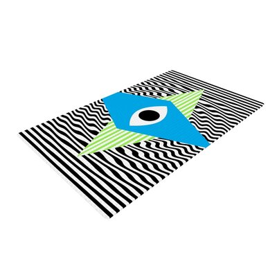 Vasare Nar Eye Optical Black/Blue Area Rug Rug Size: 4 x 6
