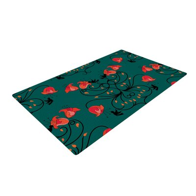 Yenty Jap Hummingbird Teal/Red Area Rug Rug Size: 4 x 6