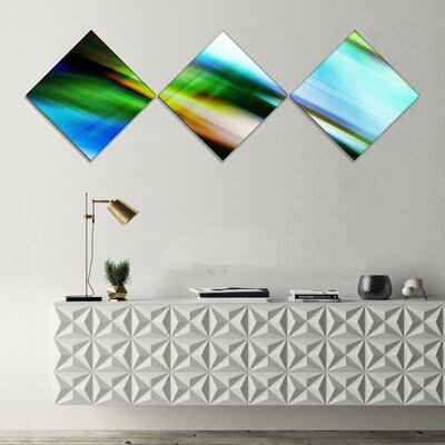 'Rays of Speed Blue Green' Graphic Art Print Multi-Piece Image on Canvas URBR1434 41312177