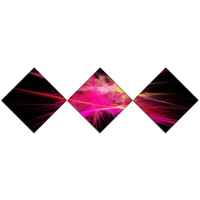 'Pink Fractal Chaos Multicoloured Rays' Graphic Art Print Multi-Piece Image on Canvas URBR1056 41310081