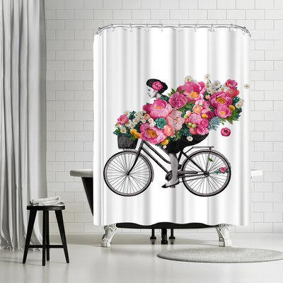 Laura Graves Floral Bicycle Shower Curtain