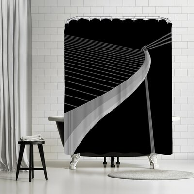 1x White Lines Shower Curtain