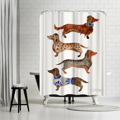 Cat Coquillette Dachshunds Shower Curtain