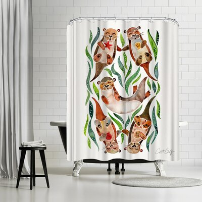 Cat Coquillette Five Otters Shower Curtain