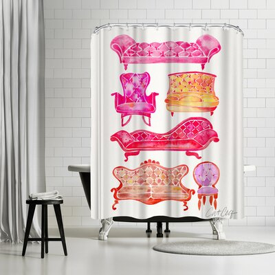 Cat Coquillette Victorian Lounge Pink Shower Curtain