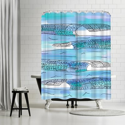 Jetty Printables Blue Tribal Waves Boho Art Shower Curtain