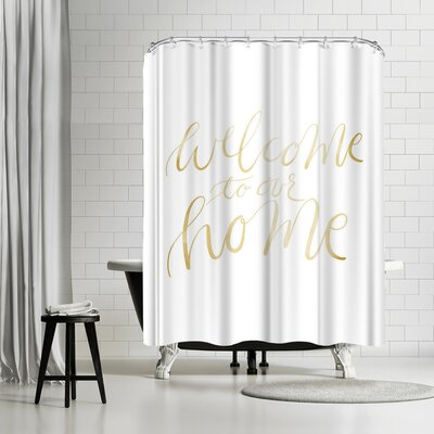 Jetty Printables Gold Welcome to Our Home Typography Shower Curtain