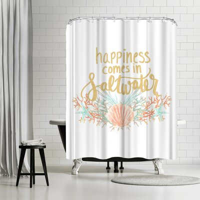 Jetty Printables Happines Comes in Saltwater Typography Shower Curtain