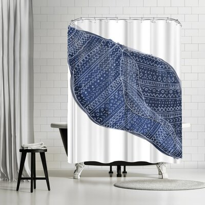 Jetty Printables Navy Blue Tribal Shell Art Shower Curtain