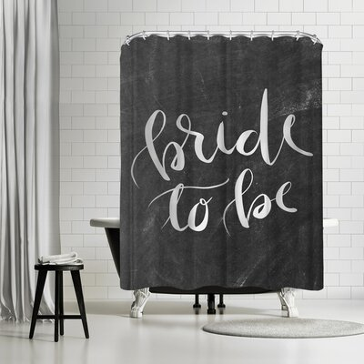 Jetty Printables Silver Chalkboard Bride to Be Typography Shower Curtain