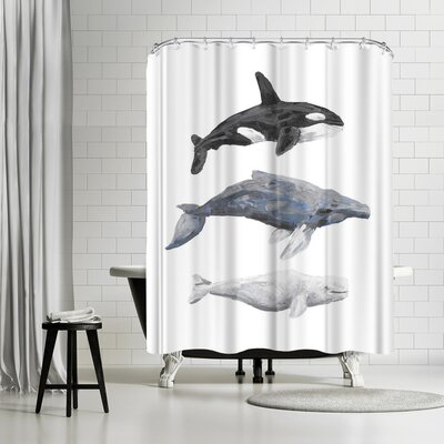 Jetty Printables Whale Painting Trio 1 Shower Curtain