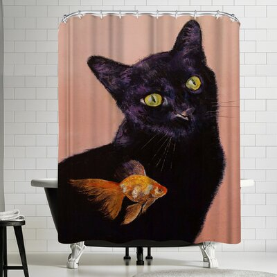 Michael Creese Black Cat and Goldfish Shower Curtain
