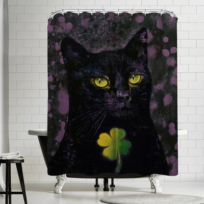 Michael Creese Black Cat Shamrock Shower Curtain