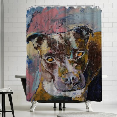 Michael Creese Brindle Pit Bull Shower Curtain