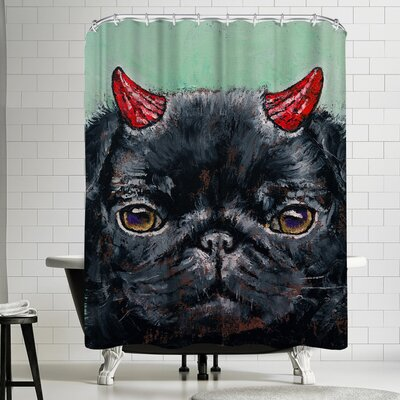 Michael Creese Devil Pug Shower Curtain