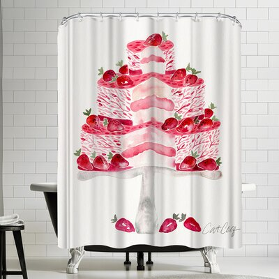 Cat Coquillette Strawberry Short Cake Shower Curtain