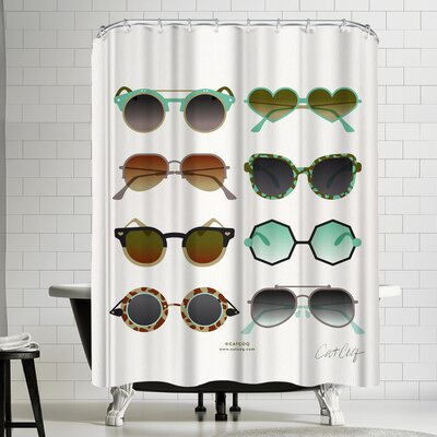 Sunglasses Mint and Sepia Shower Curtain