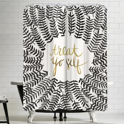 Treat Yo Self Black Shower Curtain