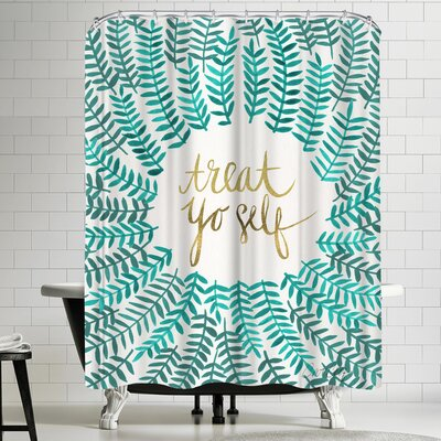 Cat Coquillette Treat Yo Self Turquoise Shower Curtain