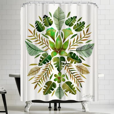 Cat Coquillette Tropical Symmetry Green Shower Curtain