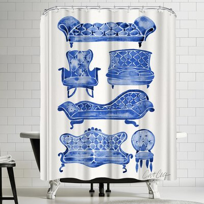 Cat Coquillette Victorian Lounge Navy Shower Curtain