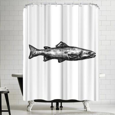Jetty Printables Trout Illustration Shower Curtain