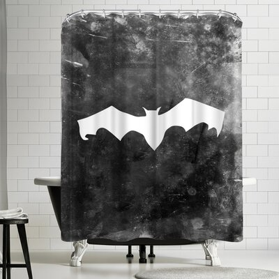 Jetty Printables Black Bat Halloween Shower Curtain