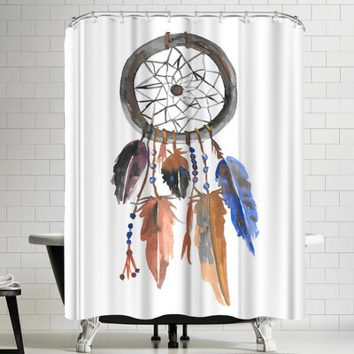 Jetty Printables Blue and Brown Tribal Dreamcatcher Shower Curtain