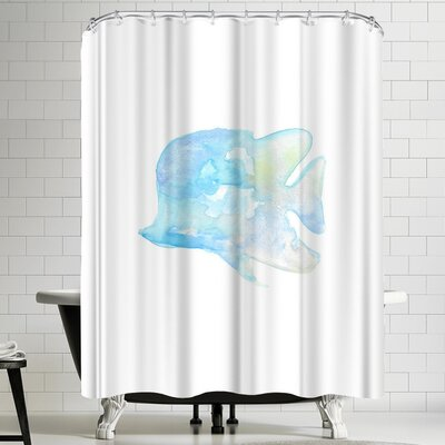 Jetty Printables Blue Watercolor Angel Fish Shower Curtain
