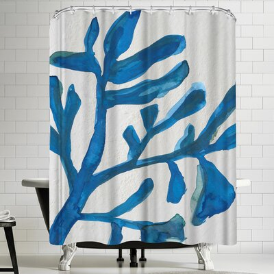 Jetty Printables Blue Watercolor Seaweed Painitng 3 Shower Curtain