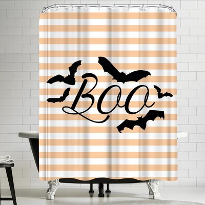 Jetty Printables Boo with Bats Shower Curtain