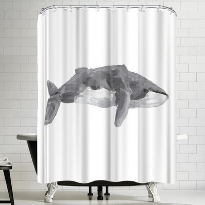Jetty Printables Fin Whale Painting Shower Curtain