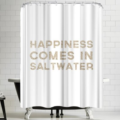 Jetty Printables Happiness Comes in Saltwater Coastal Typography Shower Curtain