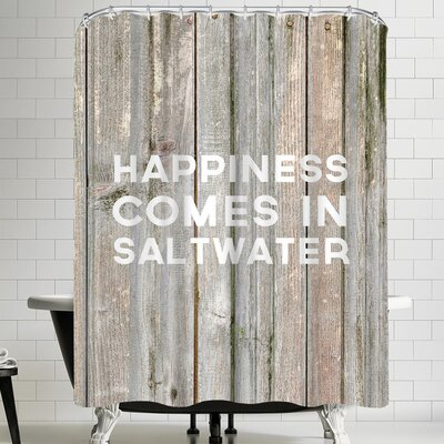 Jetty Printables Happiness Comes in Saltwater Wood Shower Curtain