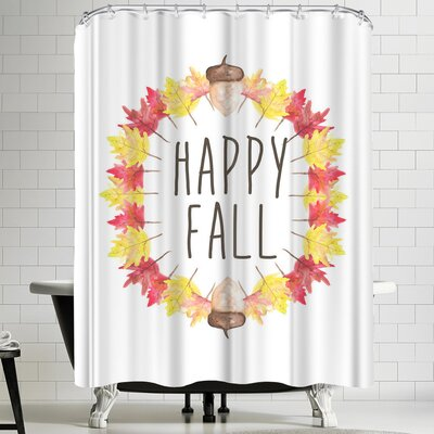 Jetty Printables Happy Fall Typography Shower Curtain