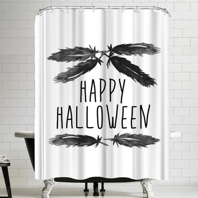 Jetty Printables Happy Halloween Feather Art Shower Curtain